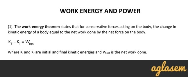Important Notes of Physics for NEET, JEE: Work Energy and
