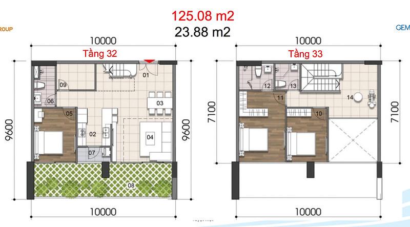 Gem Riverside thiết kế mẫu Duplex Villa - Penthouse 11