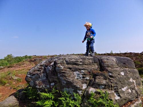 Playing on gritstone on Birchen Edge