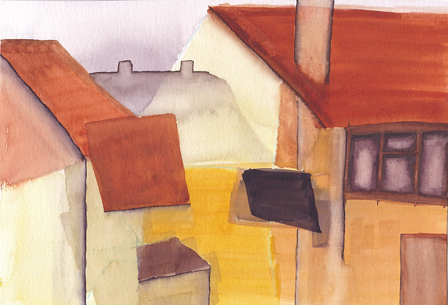 Abstract painting of houses
