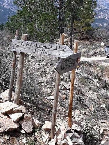 Panneaux du PR6 en haut de la montée de Ranuchjaghja sur la piste de Luviu