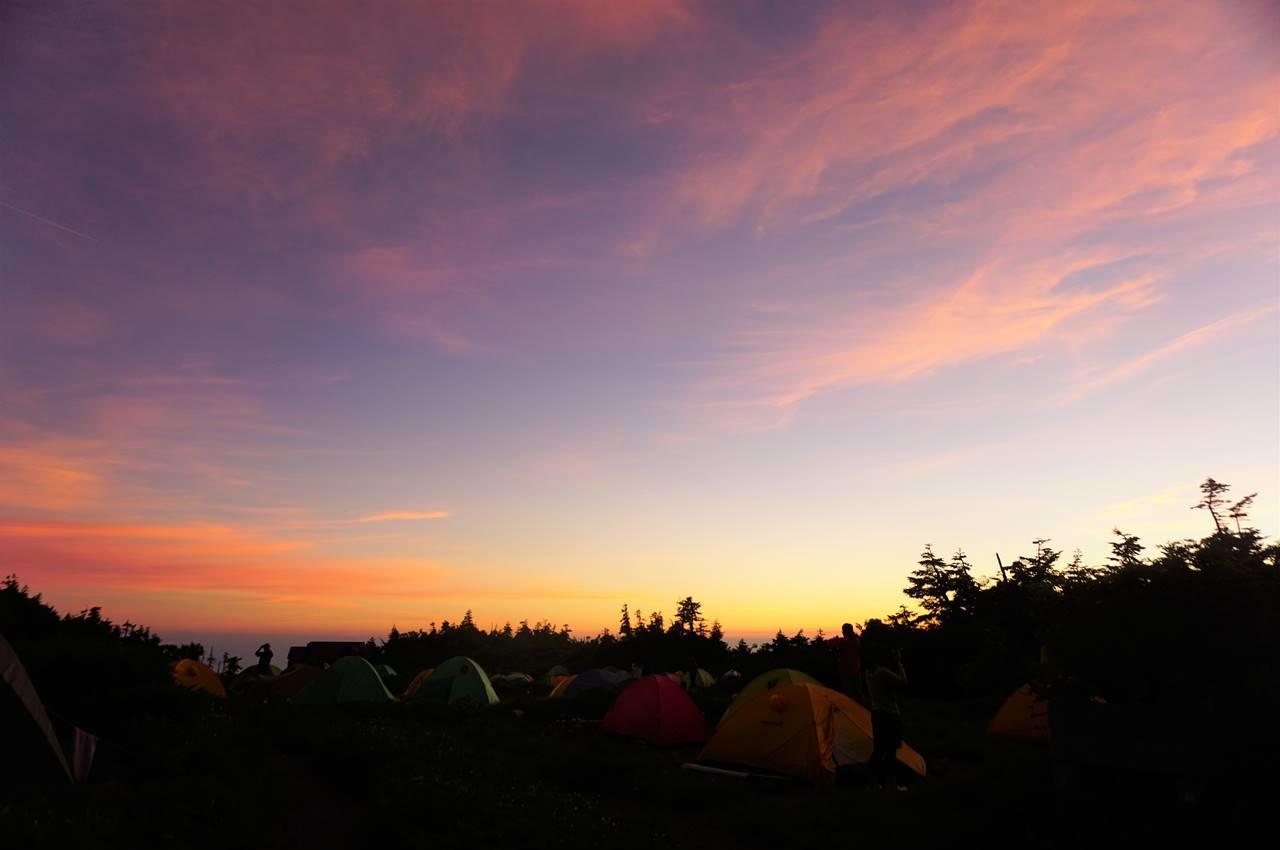 白山の夕焼け テント泊登山