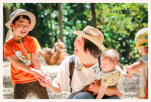 小幡緑地公園(名古屋市)で親子撮影会!5歳の同級生友達同士、女性カメラマンが撮る家族の日常