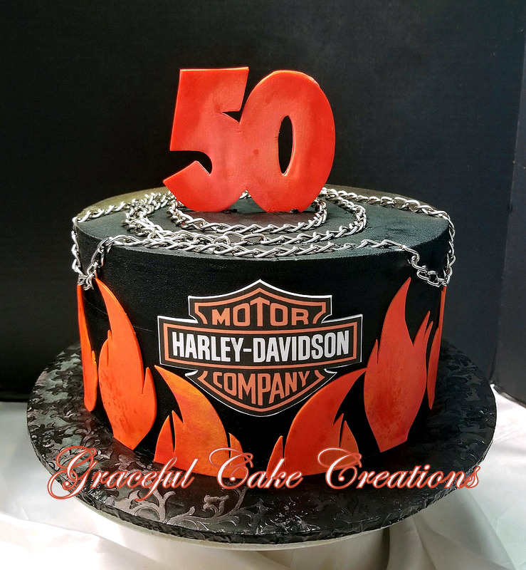 Harley Davidson 50th Birthday Cake With Flames And Logo Flickr