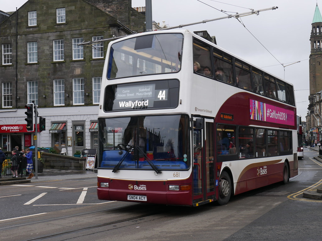 ... Lothian Dennis Trident SLF Plaxton President SN04ACY 681 operating  service 44 to Wallyford at Shandwick Place