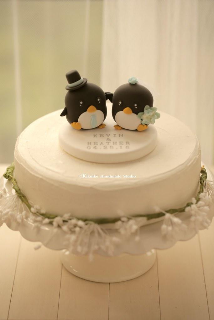 Handmade penguins bride and groom wedding cake topper, cut… | Flickr