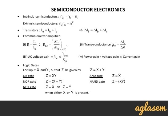 Important Notes of Physics for NEET, JEE: Semiconductor Electronics