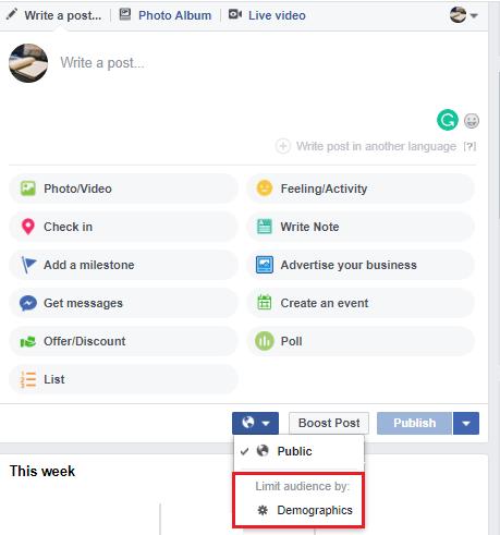 Facebook Post targetting