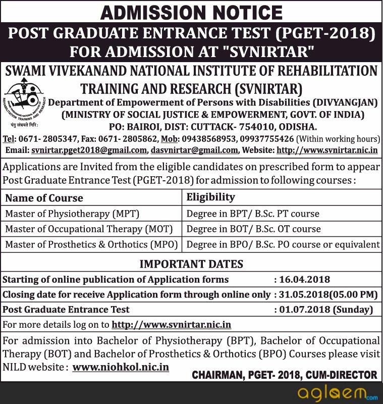 SVNIRTAR Entrance Exam 2018   CET / PGET