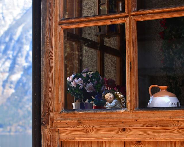 Detalles preciosos en las ventanas de las casas de Hallstatt