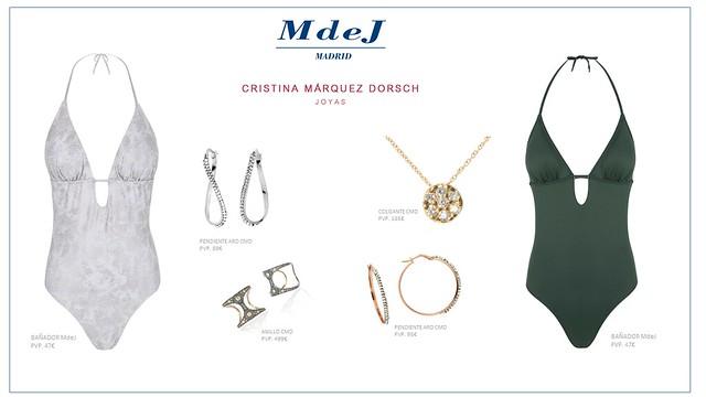 bañadores de María de Juanes y las joyas de Cristina Márquez Dorsch