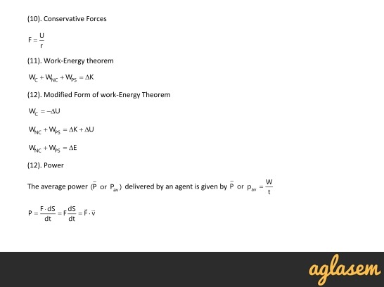 Important Notes of Physics for NEET, JEE: Work Energy and Power