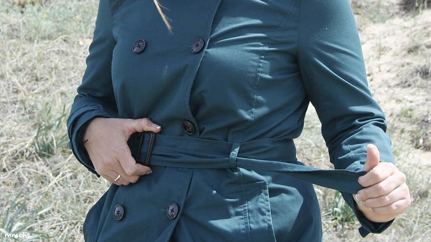 cinturon trench verde estilo militar