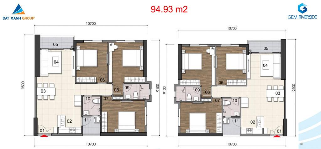 Thiết kế Mặt bằng tầng - căn hộ điển hình Gem Riverside 10