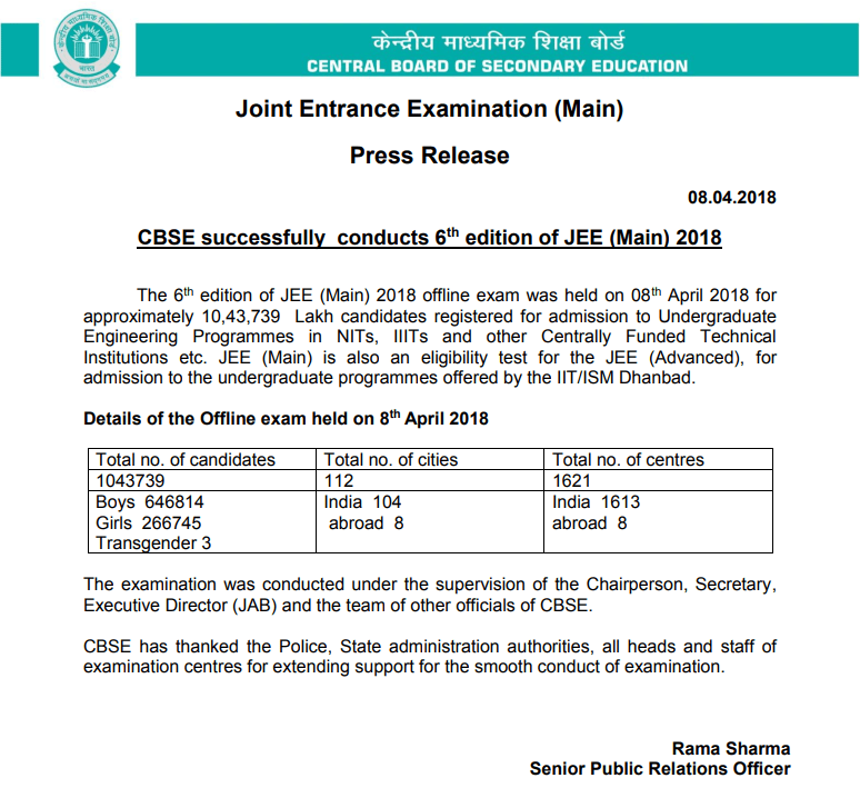 10.43 Lakh Students Appeared For JEE Main 2018 on April 8