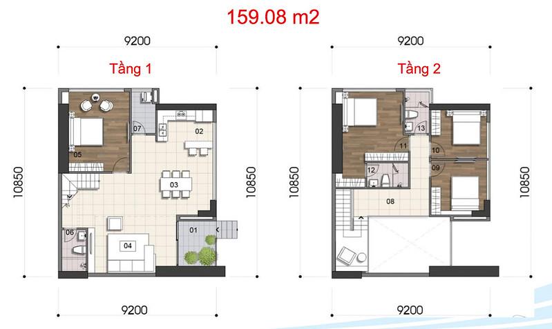 Gem Riverside thiết kế mẫu Duplex Villa - Penthouse 5