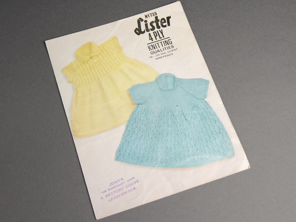 5a81ccdfa7a9 Lister 1735 Lace Baby Dresses 60s Vintage Knitting Pattern Leaflet ...