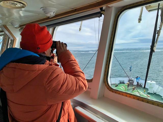 Sele mirando con los prismáticos en el barco de expedición polar a Svalbard