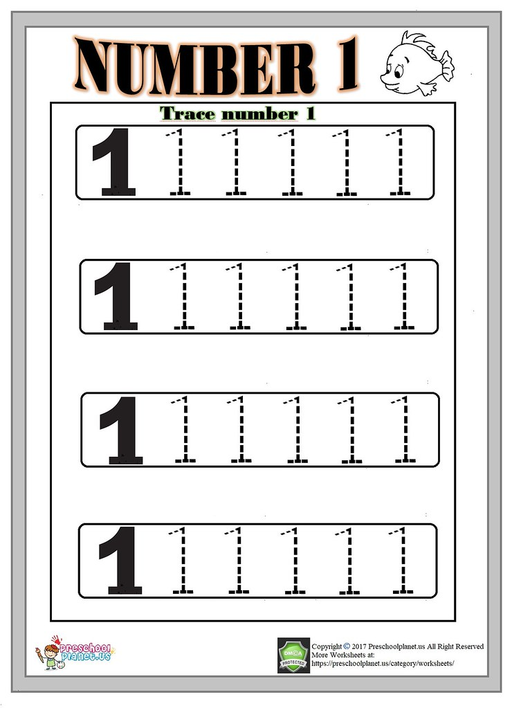 Number 1 trace worksheet | Number 1 trace worksheet Here is … | Flickr