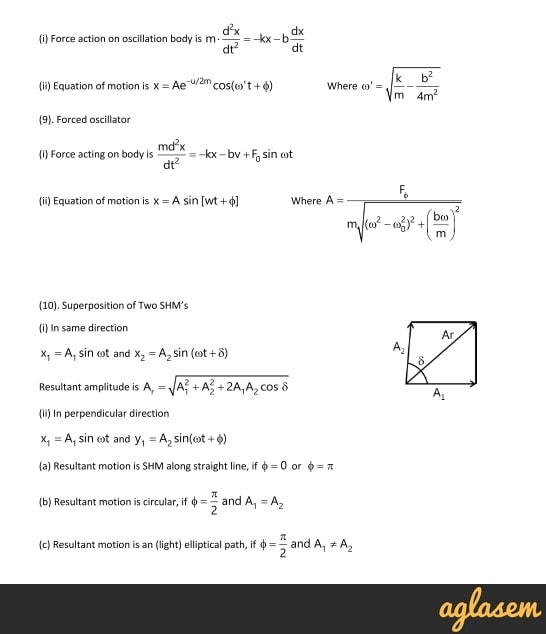 Important Notes of Physics for NEET, JEE: Oscillations | AglaSem