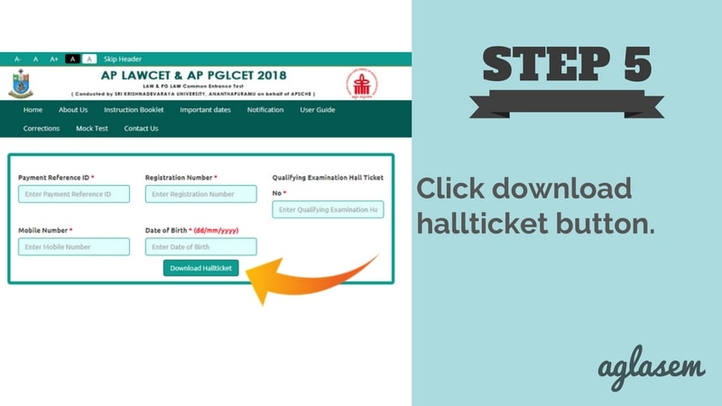 AP LAWCET 2018 Hall Ticket