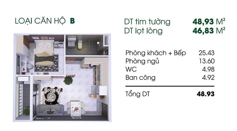 Căn hộ B: 1 phòng ngủ, 1 WC diện tích: 46,83 m2 Thủ Thiêm Garden quận 9