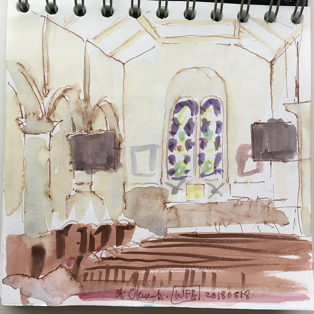 Relatively tight watercolour sketch of the church interior