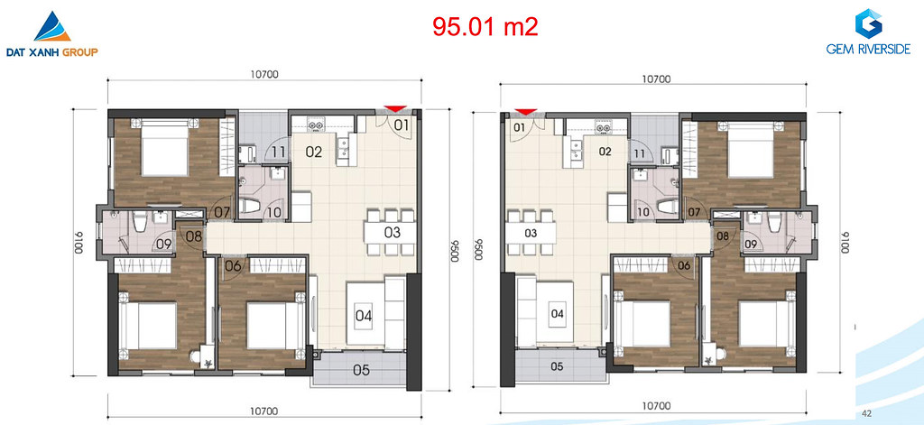 Thiết kế Mặt bằng tầng - căn hộ điển hình Gem Riverside 9