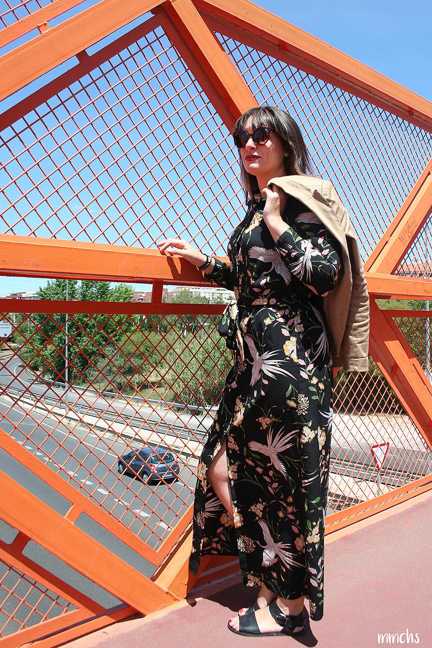 vestido camisero de pájaros