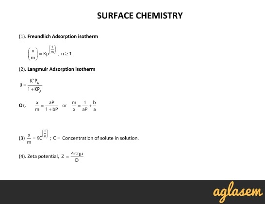 Important Notes of Chemistry for NEET, JEE: Surface Chemistry