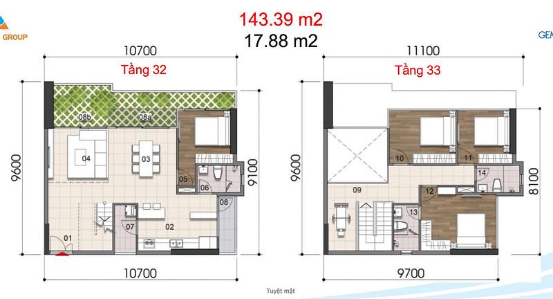 Gem Riverside thiết kế mẫu Duplex Villa - Penthouse 13