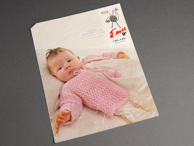 Emu 8123 Baby Cardigan 60s Vintage Knitting Pattern Leaflet