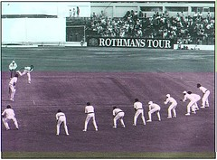 Denis Lillee bowling with 9 slips | by mailliw