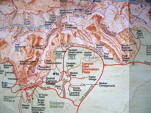 Grand Canyon Trail Map | This is the South Rim Park area. Th ...