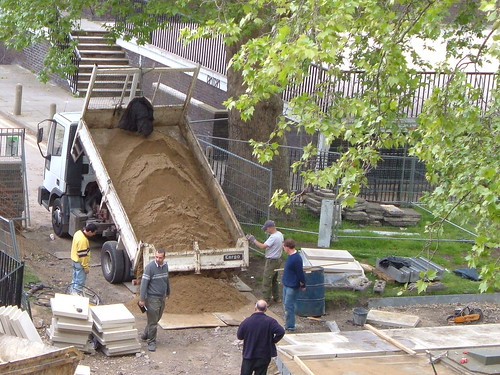 Delivery of more sand to go under the paving stones | by davidjennings