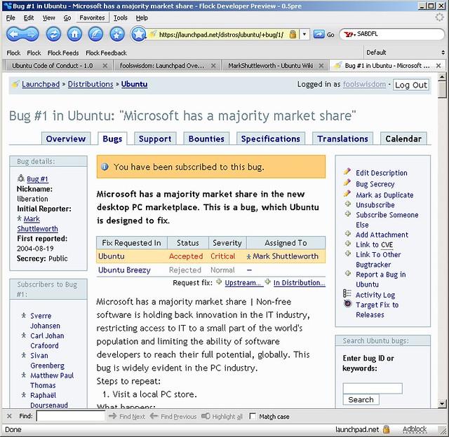 ubuntu s bug 1 microsoft has a majority market share flickr