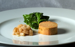 Poached Moulard Duck Foie Gras Au Torchon with Pickled Pear | by ilmungo