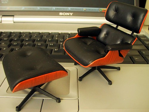 Miniature Eames Lounge Chair And Ottoman 1 12th Scale