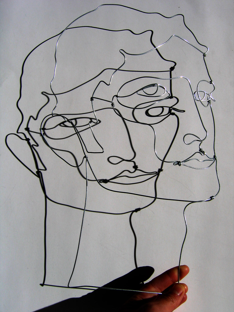 Wire sculpture head with shaddow more wire sculptures for 3d wire art