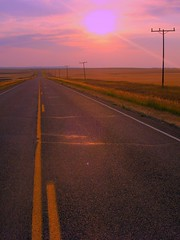 sunset, road, and power lines - eastern montana | by ((brian))