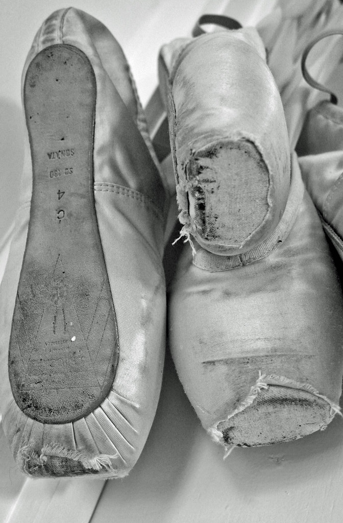 some of my dead pointe shoes one pair of bloch sonatas