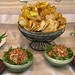 Banana Salsa with Fried Taro Chips, Tortilla Strips and Plantains