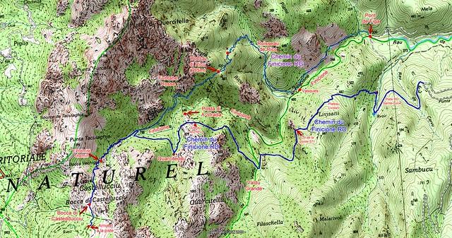 Carte du parcours depuis la piste d'accès au Castedducciu jusqu'à l'embranchement sur la piste de Luviu par le Chemin RG du Finicione (trace bleue foncé)