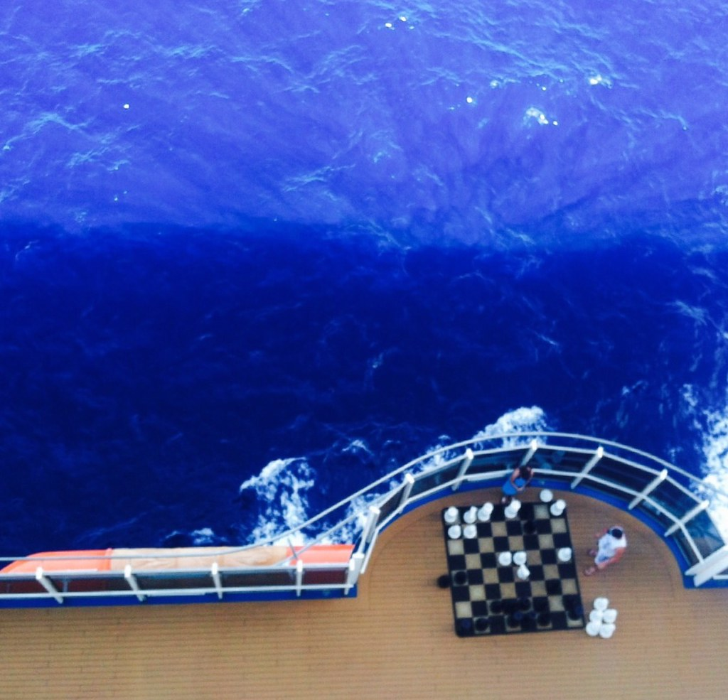 playing chess on the deck