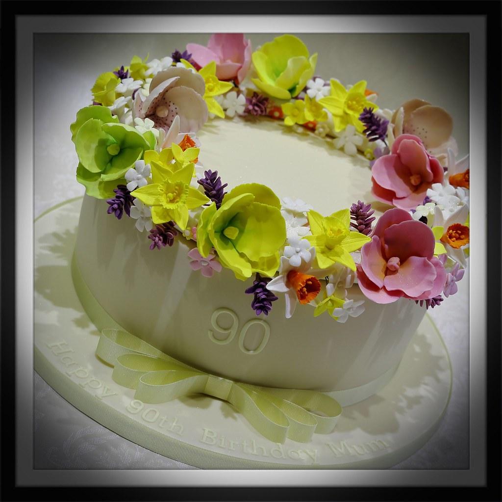 Spring floral 90th Birthday Cake Anita Barrett Flickr