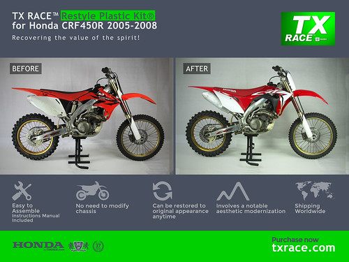 TX RACE™ Restyle Plastic Kit® for Honda CRF450R 2005-2008 | by TX RACE