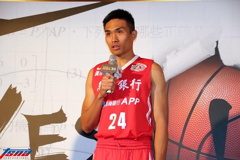台銀球員郭少傑特地以「HBL乙級大使」的身分出席賽前記者會。(林志儒/攝)