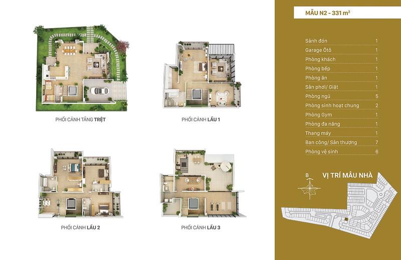 Mẫu thiết kế N2 biệt thự đơn lập Villa Park