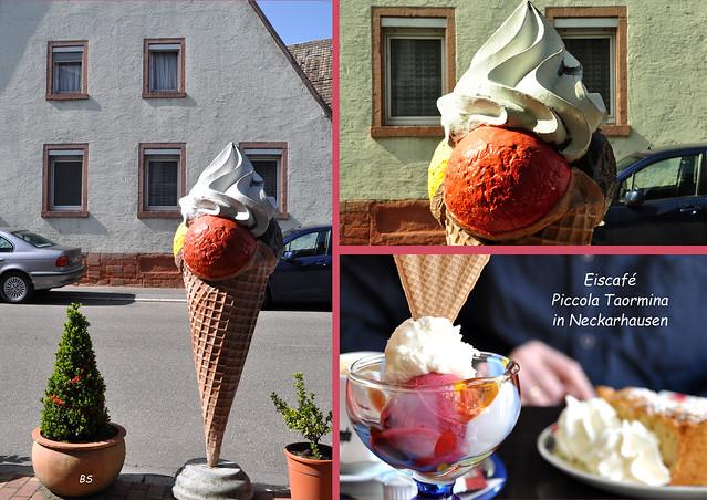 Eis und Apfelkuchen im Eiscafé Piccola Taormina, Neckarhausen ... Foto: Brigitte Stolle 2018