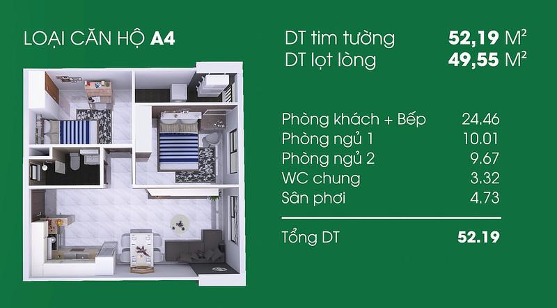 Căn hộ A4: 2 phòng ngủ, 1 WC diện tích: 49,55 m2 Thủ Thiêm Garden quận 9